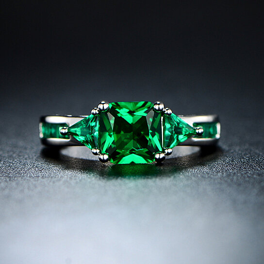 4 00 Ctw Princess Cut Emerald Ring In 18k Gold White Plating By Sgs International On Opensky