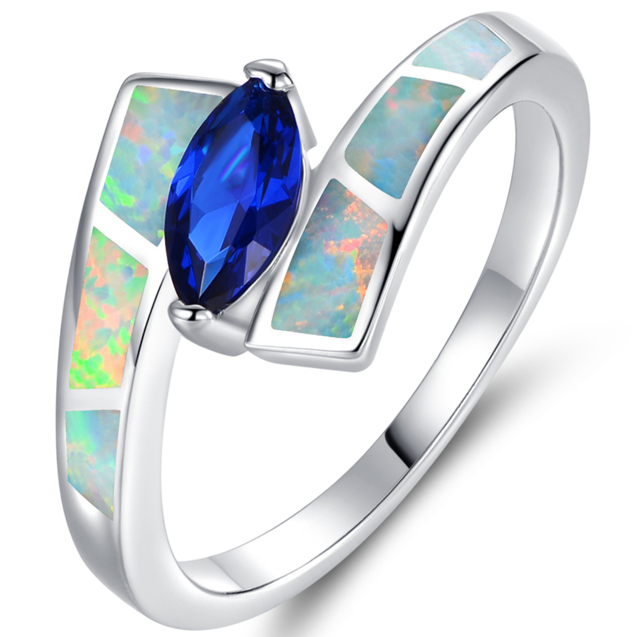 18k White Gold Plated Marquise-cut Blue Spinel & Opal Bypass Ring R1664-27 Size 5