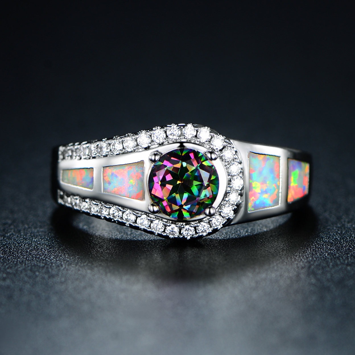 18k White Gold Plated Mystic Topaz & Opal Cocktail Ring 5