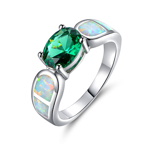 18K White Gold Plated Nano Emerald & Fire Opal Ring