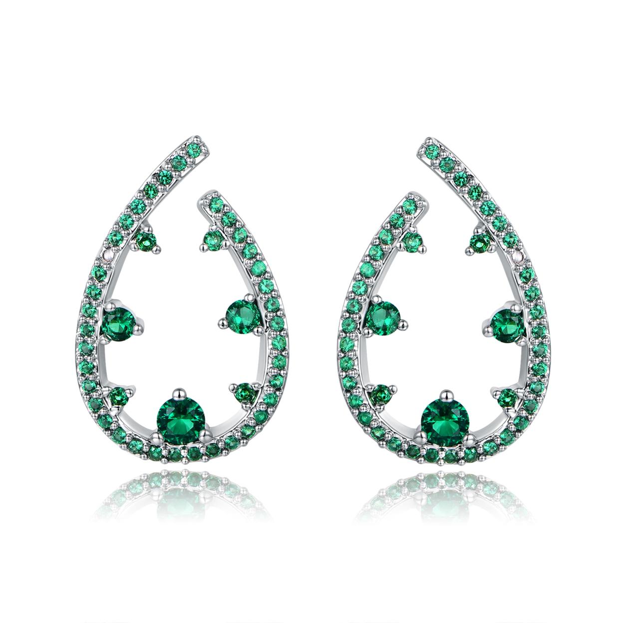 18k White Gold Plated Nano Emerald Teardrop Earrings Er5198-09