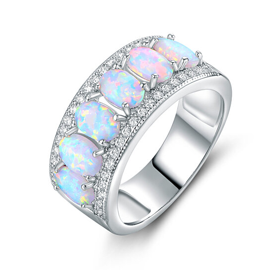 Top Buy 18K White Gold Plated Oval-Cut White Fire Opal & Cubic  KS09
