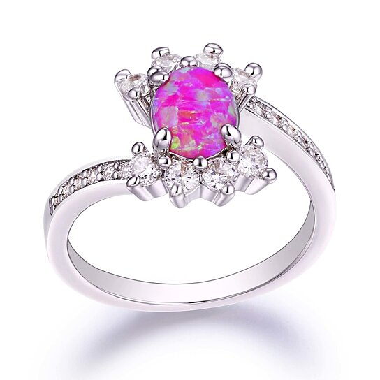 Buy 18K White Gold Plated & Pink Fire Opal Engagement Ring by SGS Interna