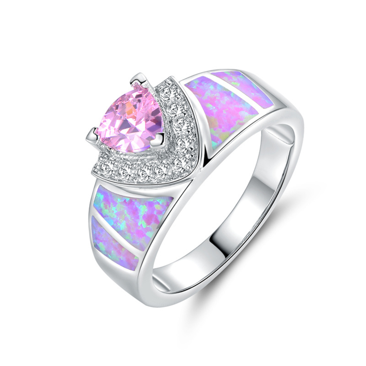 18k White Gold Plated Pink Fire Opal & Pink Cz Trillion-cut Ring (r1681) Size 5
