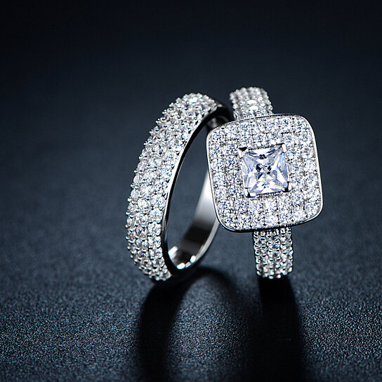 buy 18k white gold plated princess cut cz frame