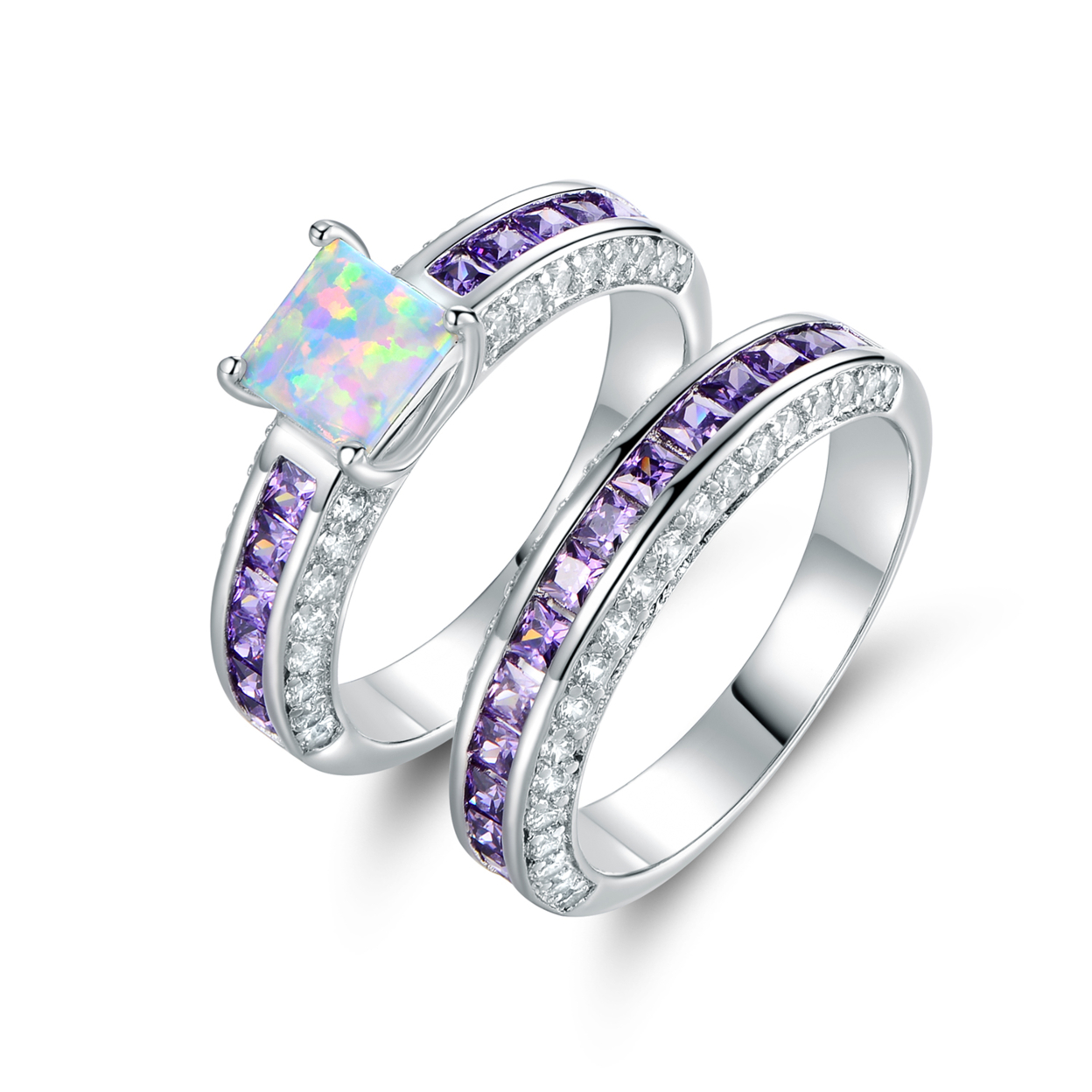 18k White Gold Plated Princess-cut White Fire Opal & Cubic Zirconia Engagement Ring Set R1568-0419 Size 5
