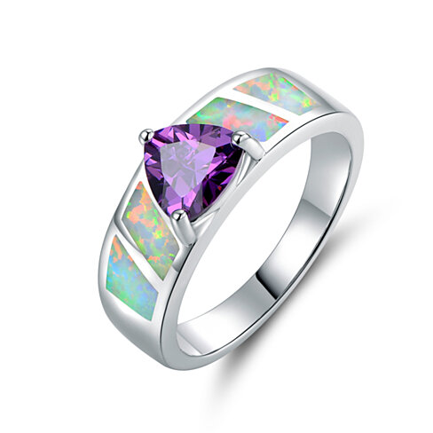 18K White Gold Plated Purple CZ and  Lab Created Fire Opal Ring