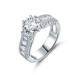 18K White Gold Plated Round-cut Cubic Zirconia Bridal Ring Set  (R1704)