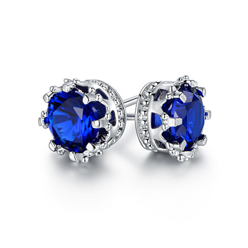 18K White Gold Plated Sapphire Spinel 7mm Stud Earrings (ER5077-27)