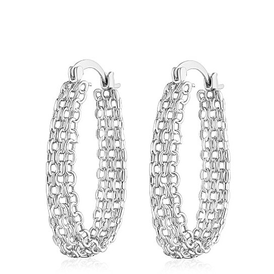 bb5b5d00f Buy 18k White Gold Plated Silver Cable Linked Hoop Earrings by SGS  International on Gemafina