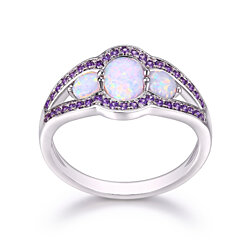 18K White Gold Plated White Fire Opal & Amethyst CZ Ring