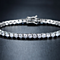 18K White Plated Silver and White Swarovski Elements Round-cut Tennis Bracelet