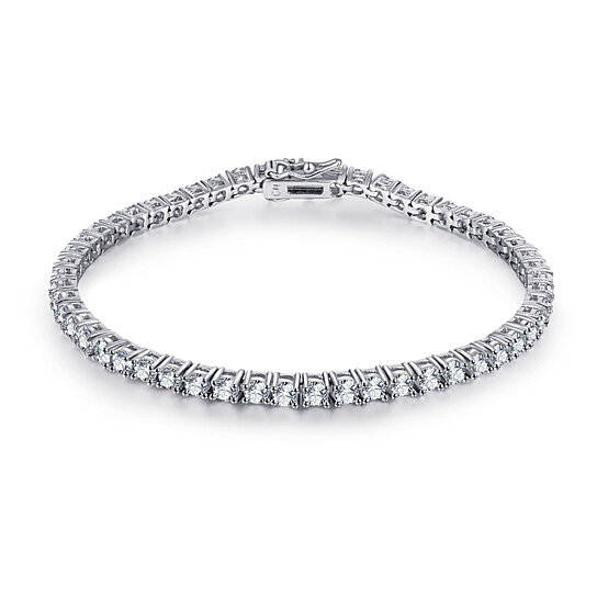 88fc27c79ba16a Buy 18K White Plated Silver and White Swarovski Elements Round-cut Tennis  Bracelet by SGS International on OpenSky
