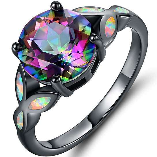 for rainbow mystical women female clear cz sapphire topaz silver with engagement rings item sterling