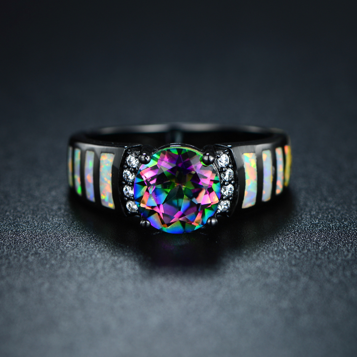Black Rhodium Plated Mystic Topaz & Opal Ring 5