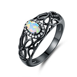 Black Rhodium Plated White Fire Opal and Cubic Zirconia Filigree Engagement Ring  R1747