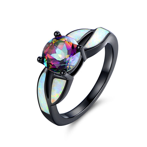 Black Rhodium White Opal & Mystic Topaz Ring