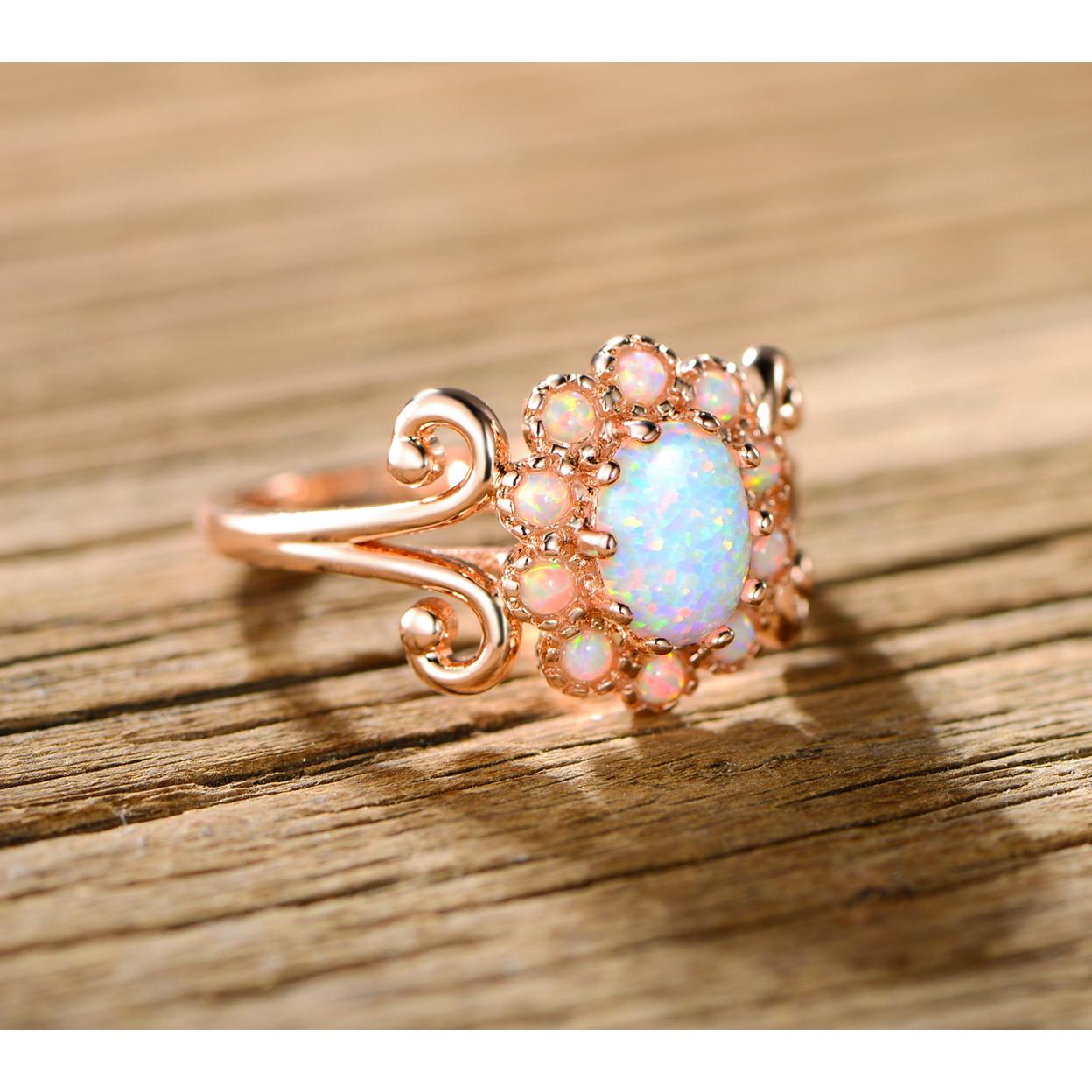 Blue Jelly Opal Filigree Cocktail Ring - Size 5 59e904bc6d88eb32fb23da23