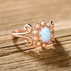 Blue Jelly Opal Filigree Cocktail Ring