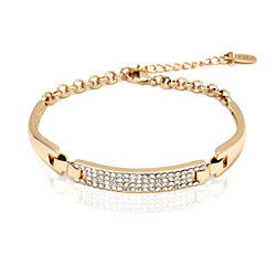 Gold Plated Gold and White Swarovski Elements Block Bracelet