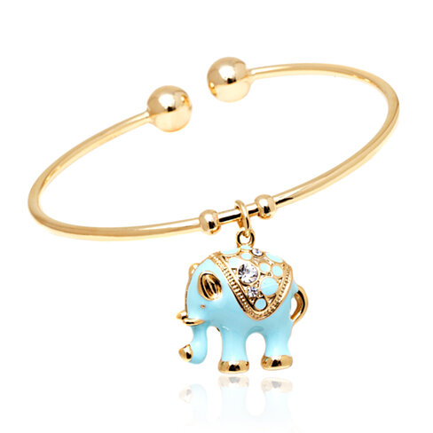 Dazzling Elephant Charm Bangle  with Swarovski Elements