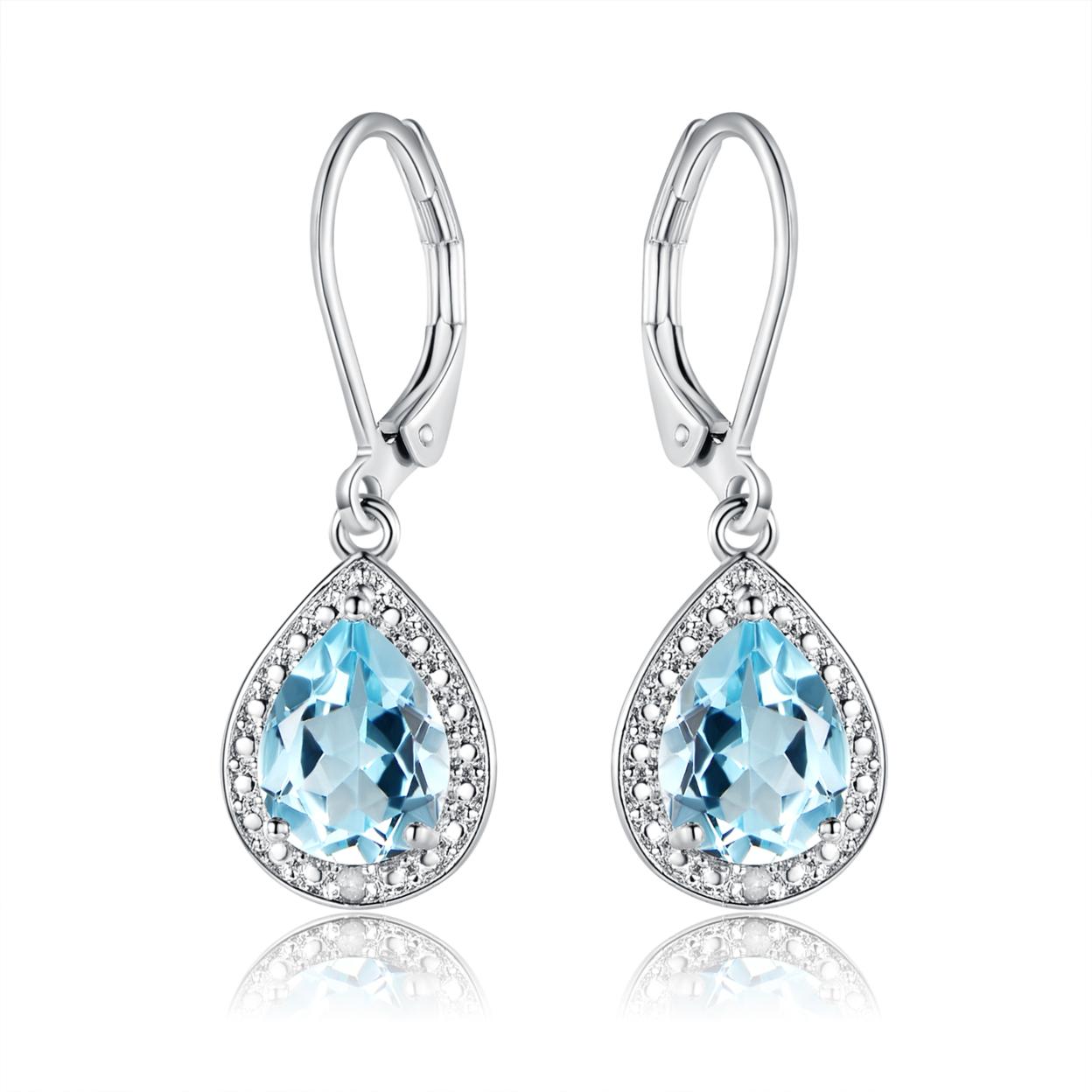 18k White Gold Plated 4.00cttw Genuine Blue Topaz & Diamond Accent Drop Earrings Er5157-06