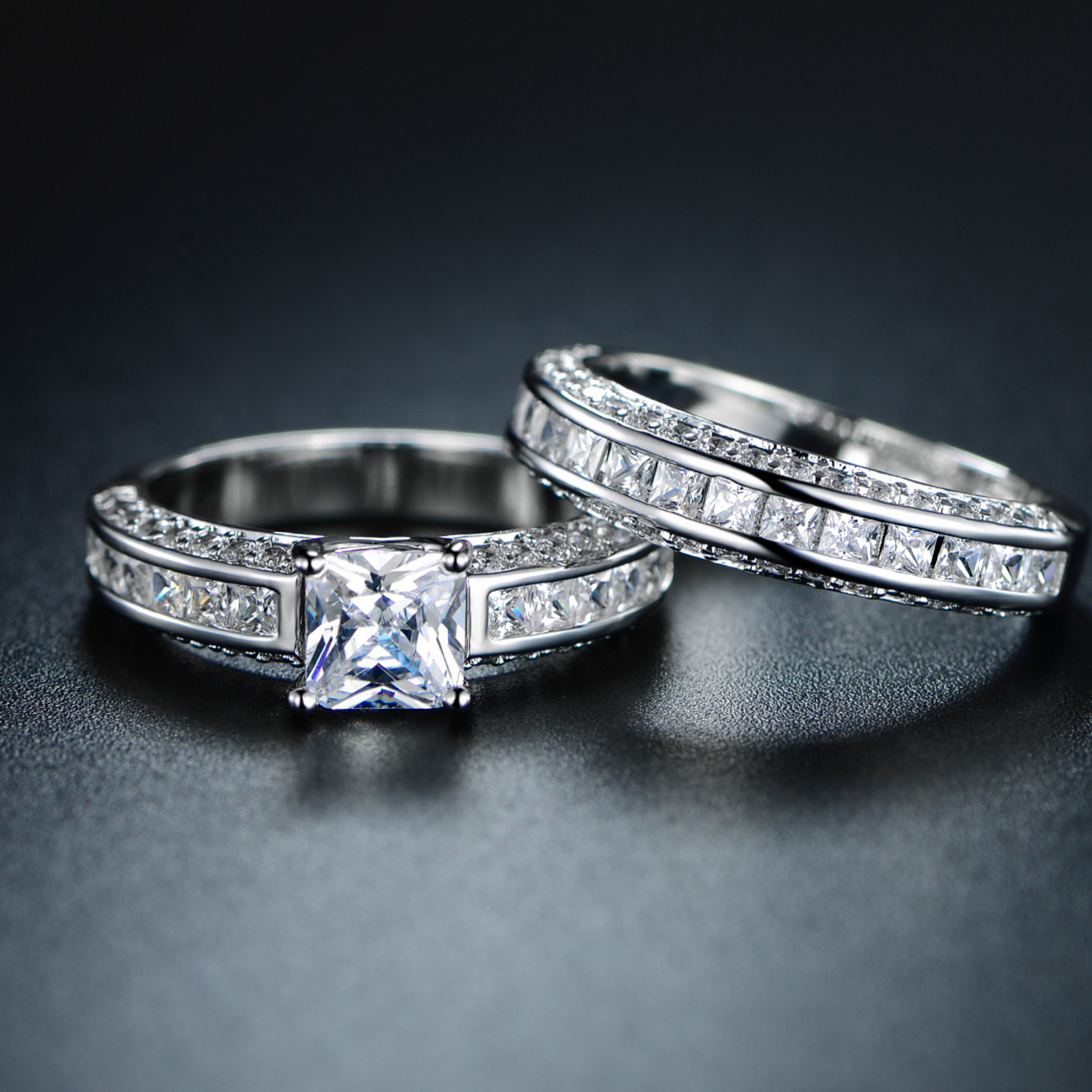 Genuine 4ct. Princess-Cut Double Band Engagement Ring - 5