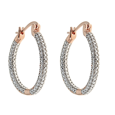 Genuine White Diamond 3 row Hoop Earring
