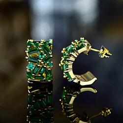 Gold Plated Lab Created Emerald Stud Earrings