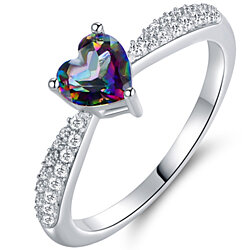White Gold Plated 3ct. Heart-Cut Mystic Topaz Engagement Ring