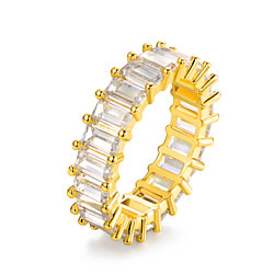 Mirror Loop Gold Plated Emerald-Cut Crystal Ring