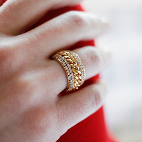 18K Gold Plated & Swarovski Elements Braid Statement Ring