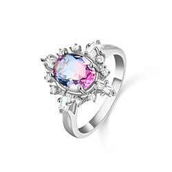 Rhodium Plated Lab Created Bubblegum Tourmaline Ring