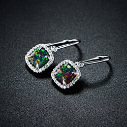 Rhodium Plated Lab Created Mystic Topaz Drop Earrings