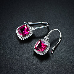 Rhodium Plated Lab Created Ruby Drop Earrings
