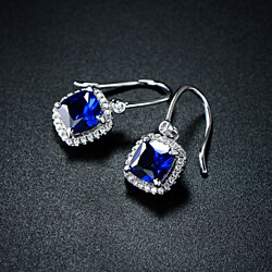 Rhodium Plated Lab Created Sapphire Drop Earrings