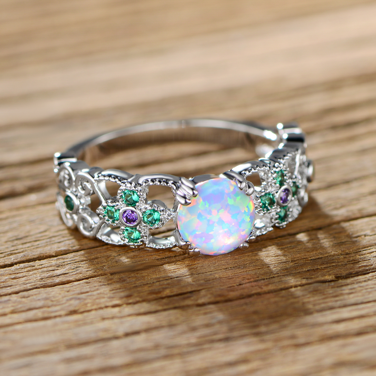 Rhodium Plated White Fire Opal With Lab-created Amethyst & Emerald Flower Ring Size 5