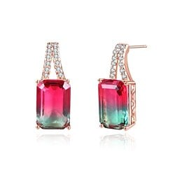 Rose Gold Plated Emerald Cut Watermelon Tourmaline Cubic Zirconia stud Earrings
