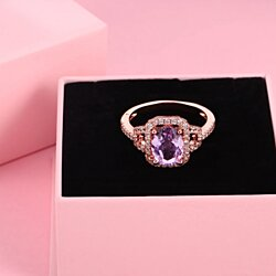Rose Gold Plated Lab Created Amethyst Ring