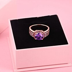 Rose Gold Plated Lab Created Amethyst Wide Band Ring