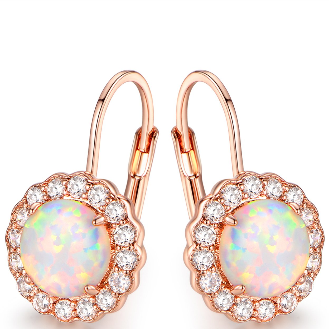 Rose Gold Plated White Fire Opal & Cubic Zirconia Flower Huggie Earrings