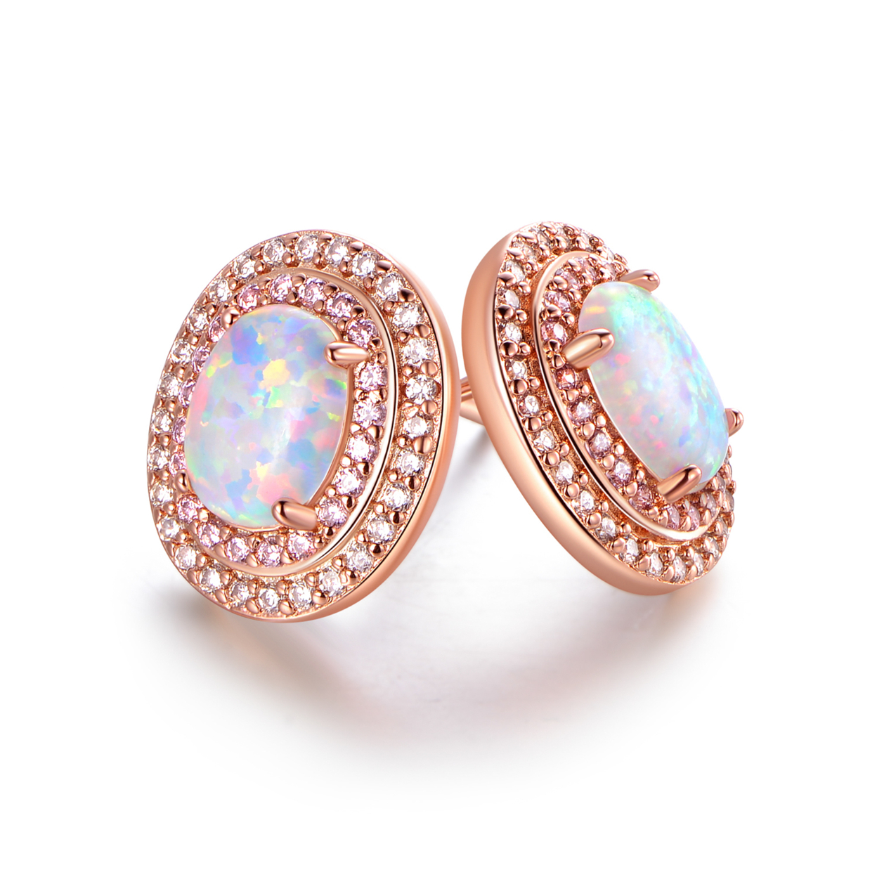 White Fire Opal & Cubic Zirconia Oval Stud Earrings