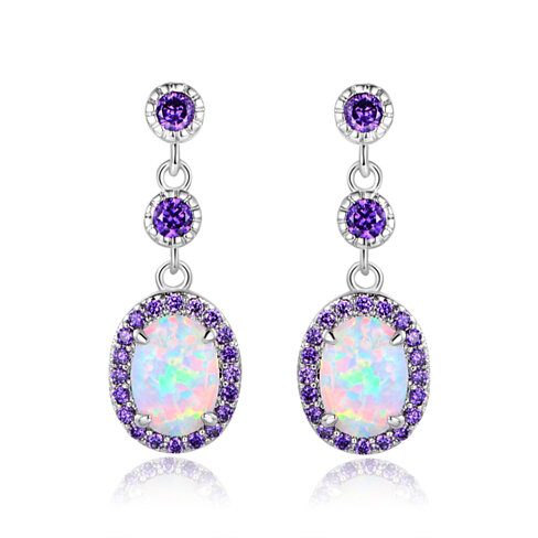 White Fire Opal & Lab Created Amethyst Dangling Earrings