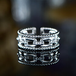 White Gold Plated & Crystal Curb Link Ring Made with Swarovski Elements