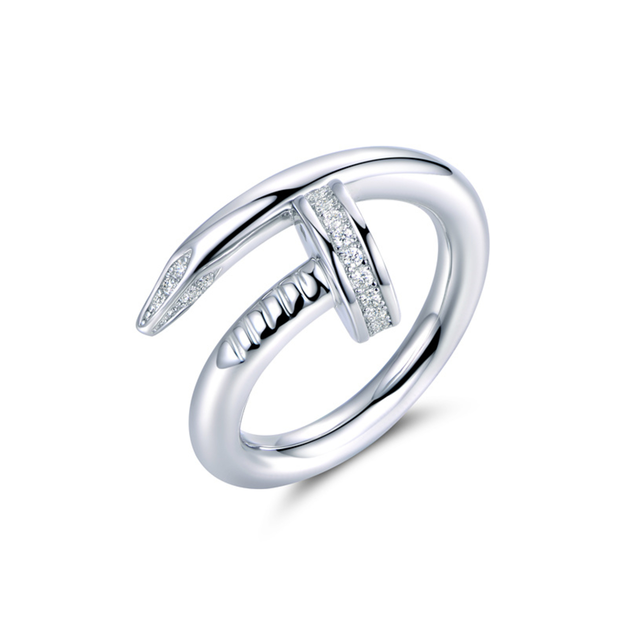 White Gold Plated & Cubic Zirconia Nail Ring Size 5