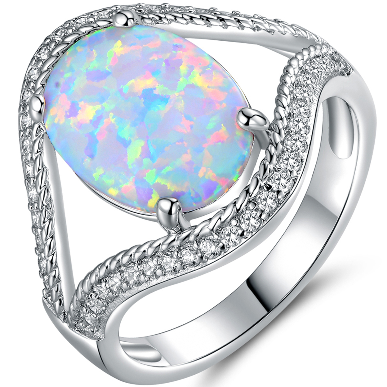 White Gold Plated Fire Opal & Cubic Zirconia Ring Size 5