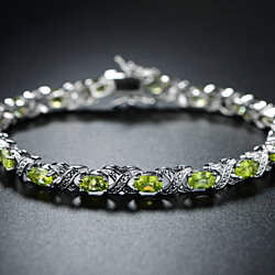 White Gold Plated Genuine Peridot Tennis Bracelet