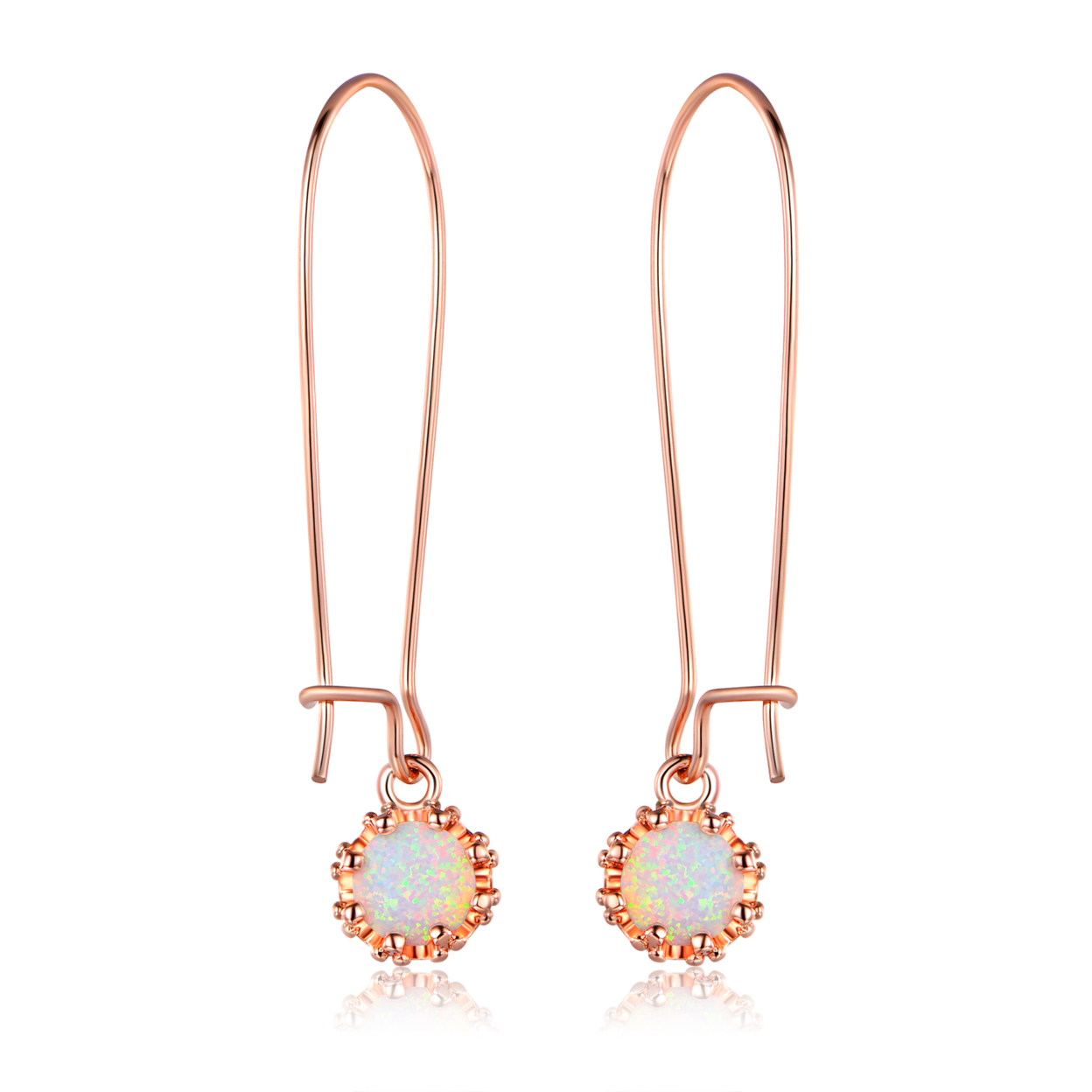 White Gold Plated Rose Fire Opal Crown Dangling Earrings