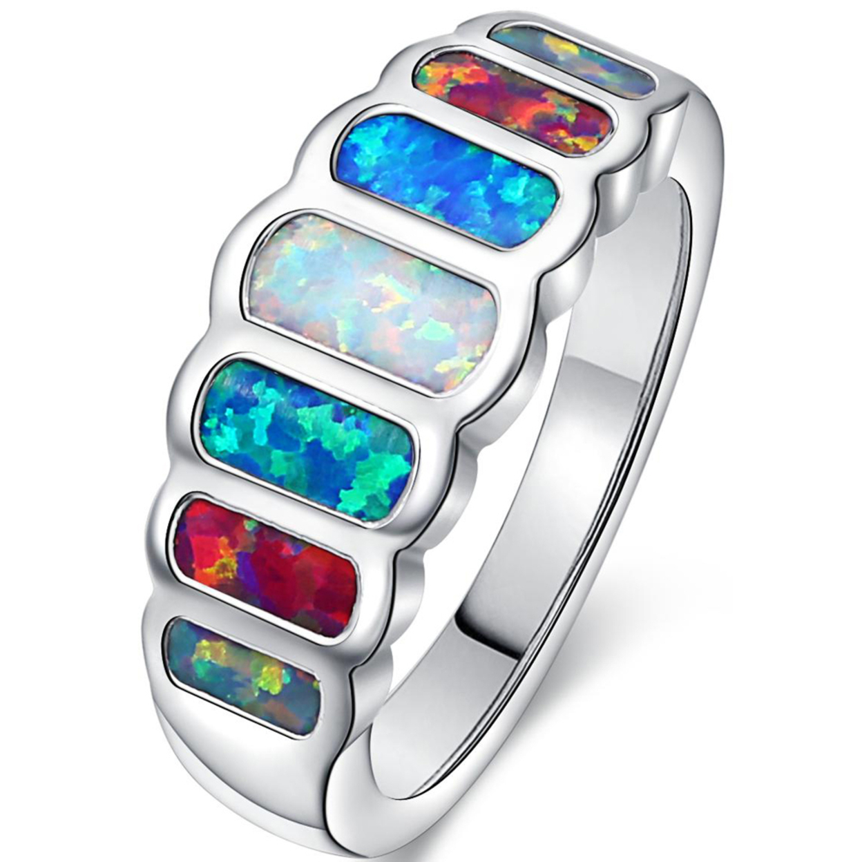 White Rhodium Plated Multi Color Fire Opal Statement Ring R1774-s Size 5