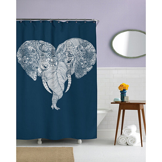 Buy Punch Trunk Love Elephant Heart Shower Curtain